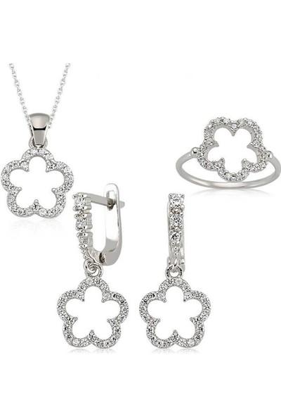 Pirmoda Çiçek Bayan 925 Ayar Gümüş Set
