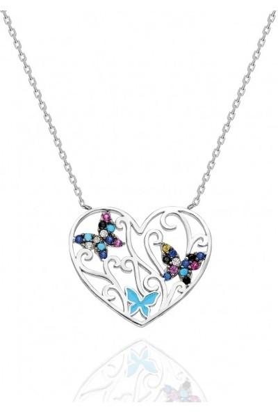 Modaincisi Kalp ve Kelebek Gümüş Kolye