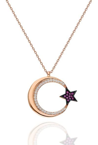 Modaincisi MK549 Gümüş Ay Yıldız Kolye