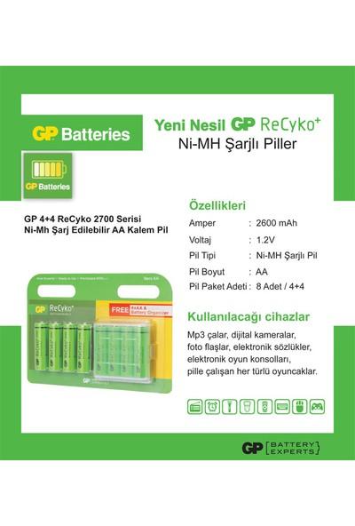 GP 4+4 ReCyko 2700 Serisi Ni-Mh Şarj Edilebilir AA Kalem Pil (GP270AAHCEMTR-2UED8)