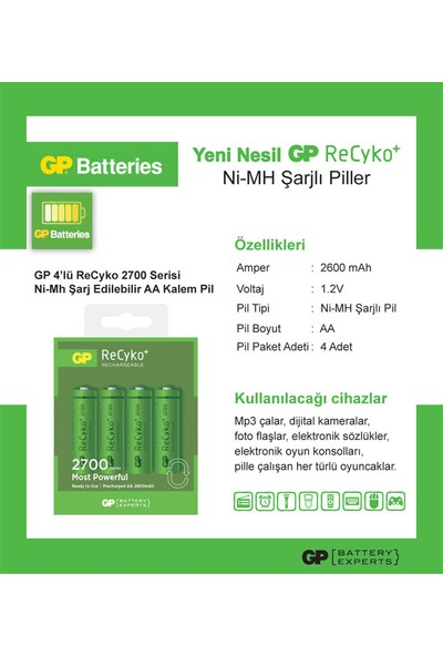 GP 4'lü ReCyko 2700 Serisi Ni-Mh Şarj Edilebilir AA Kalem Pil (GP270AAHCEMTR-2GBE4)