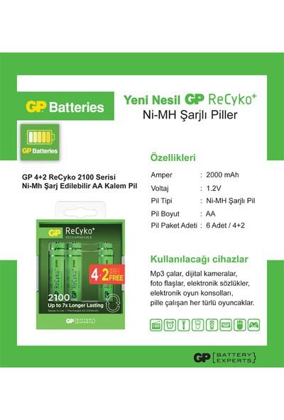 GP 6'lı (4+2) ReCyko 2100 Serisi NiMH AA Kalem Boy Şarjlı Pil(GP210AAHCEMTR-2GBE6)
