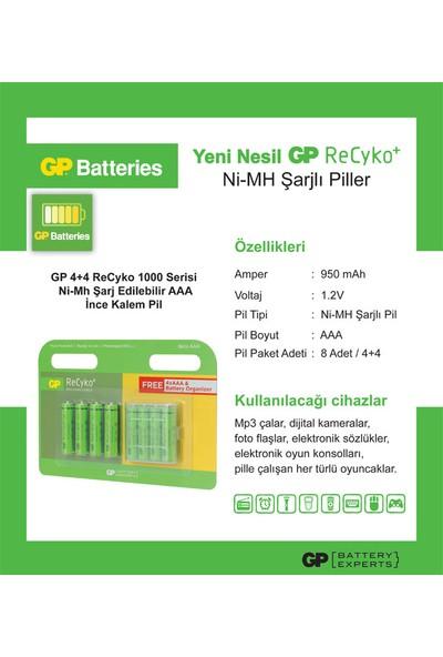 GP 4+4 ReCyko 10000 Serisi Ni-Mh Şarj Edilebilir AAA İnce Kalem Pil (GP100AAAHCEMTR-2UED8)