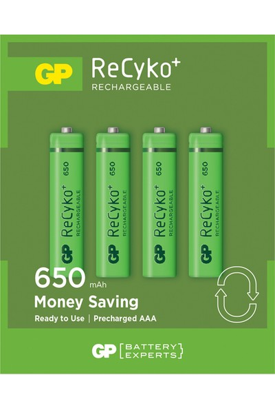 GP 4'lü ReCyko 650 Serisi NiMH AAA İnce Kalem Boy Şarjlı Pil(GP65AAAHCEMTR-2GBE4)