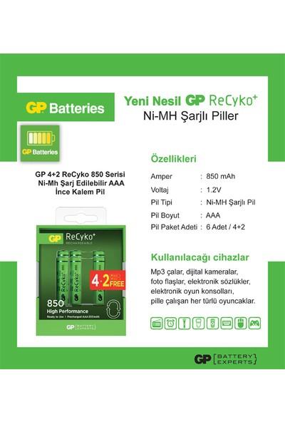 GP 6'lı (4+2) ReCyko 850 Serisi NiMH AAA İnce Kalem Boy Şarjlı Pil(GP8