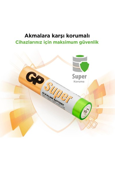 GP Super Alkalin 40'lı AAA Boy İnce Pil (GP24A-2VS40)