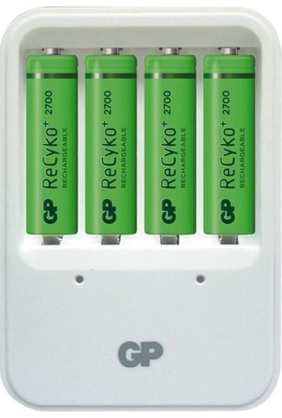 GP Powerbank PB420 Pil Şarj Cihazı + 4'lü ReCyko 2700 Serisi Ni-Mh Şarj Edilebilir AA Kalem Pil (GPPB420GSE270FRMTB-2GBEA4)