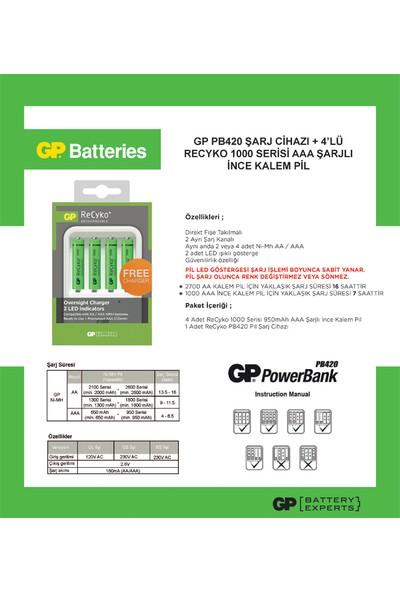 GP Powerbank PB420 Pil Şarj Cihazı + 4'lü ReCyko 1000 Serisi Ni-Mh Şarj Edilebilir AAA İnce Kalem Pil (GPPB420GSE100AAAFMTB-2GBEA4)