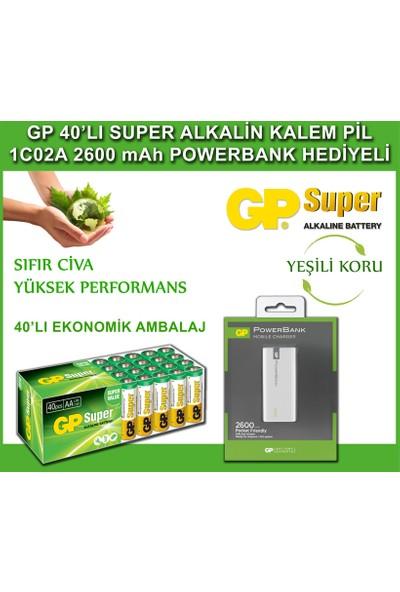 GP Süper Alkalin AA Boy Kalem Pil 40'lı Paket + GP 2.600 mAh Portable Powerbank
