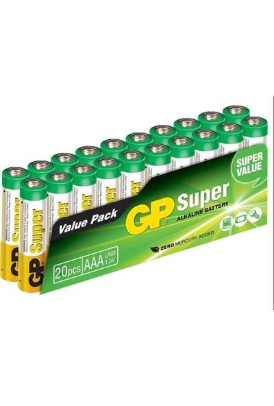 Gp Süper Alkalin AAA/LR03 Boy Ince Pil 20'li Paket