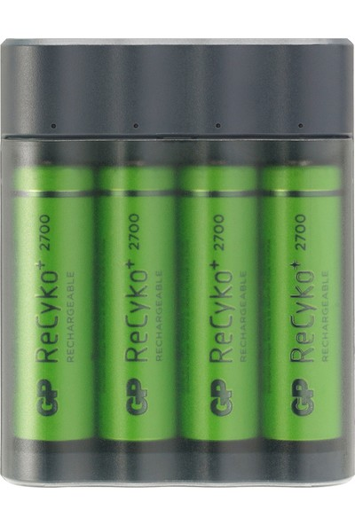 GP Pil Şarj Cihazı + Anlık Powerbank ve Recyko+ 4 Adet 2700 Aa Kalem Pilli Set