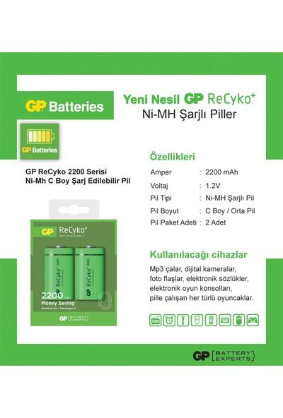 GP 2'li ReCyko 2200 Serisi NiMH C Orta Boy Şarjlı Pil(GP220CHEMTR-2GB2)