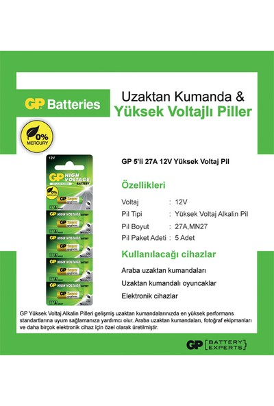 Gp 27A-C5 12V Alkalin 5Li Kartela
