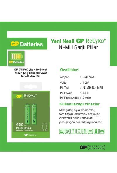 GP 2'li ReCyko 650 Serisi NiMH AAA İnce Kalem Boy Şarjlı Pil(GP65AAAHCEMTR-2GB2)
