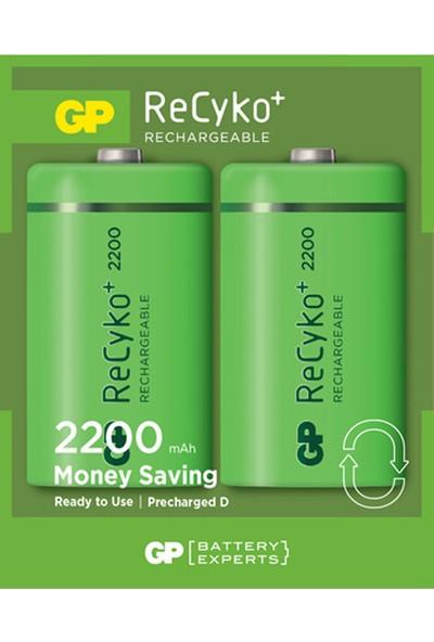 GP 2'li ReCyko 2200 Serisi NiMH D Kalın Boy Şarjlı Pil(GP220DHEMTR-2GB2)