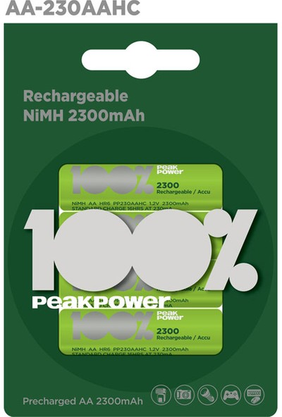 Peak Power 4'lü 2300 mAh AA Boy Kalem Şarjlı Pil