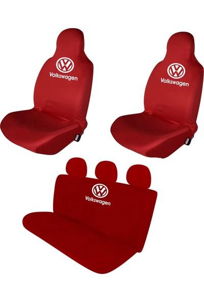 Sanalmaster Volkswagen Polo Serisi Oto Kılıf Ön Koltuk Kılıfı-Minderi Kırmızı