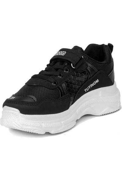Tutinom Unisex Siyah Beyaz Çocuk Spor-Sneaker Ayakkabı