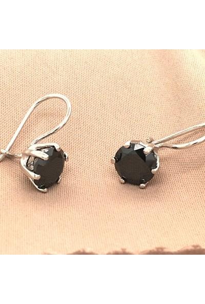 Mercan Silver Gümüş Siyah Zirkon Taşlı Sallantılı Küpe