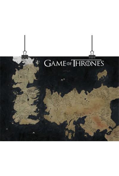 Game Of Thrones Taht Oyunları World Map Dünya Haritası 33 x 48 cm Posteri