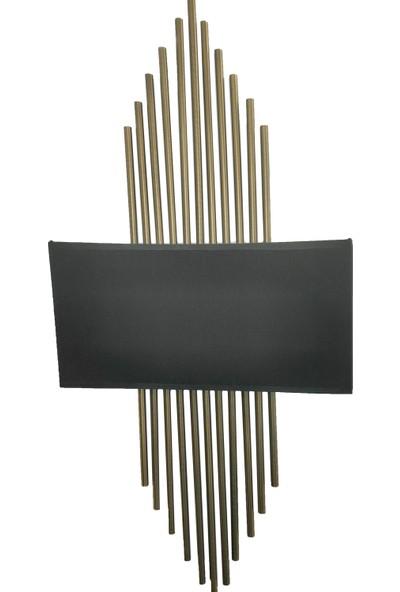 Kule Aydınlatma Çift Duylu Düvar Aydınlatması Aplik Metal Gövde Üzere Bal Kaplama Siyah Ön Panel E-14