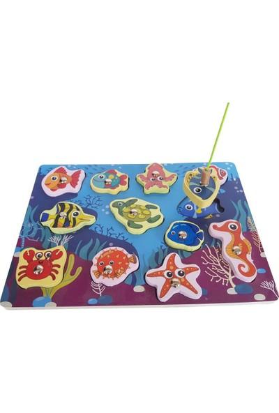 Woodylife Ahşap Çocuk Oyuncak Balık Tutma Oyunu Montessori Okyanus Seti Eğitici Geliştirici Oyuncak