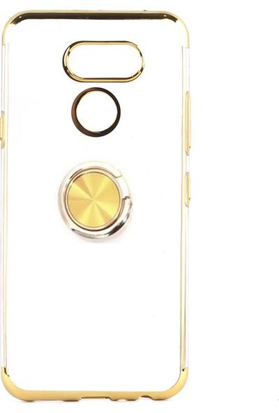 Happyshop LG K40S Kılıf 4 Köşe Renkli Yüzüklü Manyetik Gess Silikon+Nano Cam Ekran Koruyucu
