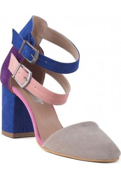 Konilya Belle Vizon Renkli Süet Çift Kemerli Topuklu Bayan Ayakkabı