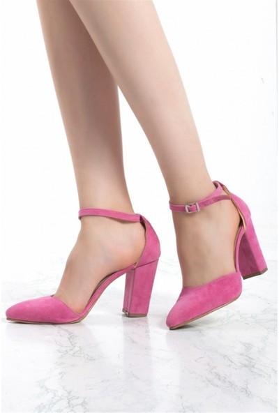 Konilya Virna Fuşya Süet Bilekten Kemerli Topuklu Bayan Ayakkabı
