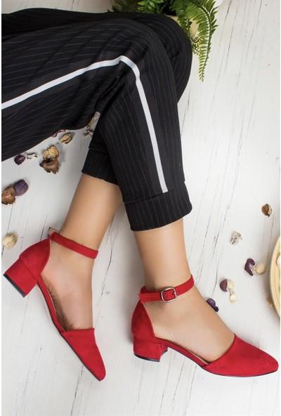 Konilya Lella Kırmızı Süet Bilekten Kemerli Topuklu Bayan Ayakkabı