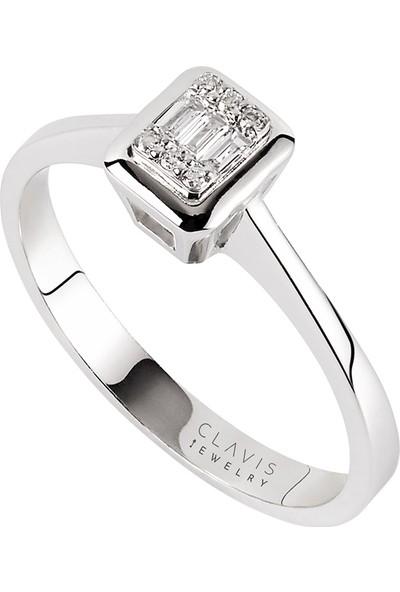 Clavis Jewelry Baget Pırlantalı Yüzük Beyaz