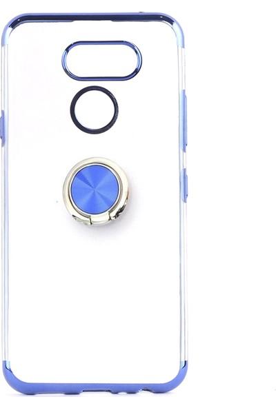 KNY LG K40S Kılıf 4 Köşe Renkli Yüzüklü Manyetik Gess Silikon + Cam Ekran Koruyucu Mavi