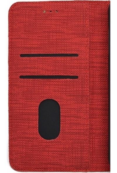 KNY Samsung Galaxy A50 Kılıf Kumaş Desenli Cüzdanlı Kapaklı Kartlıklı Kılıf + Nano Cam Ekran Koruyucu Gri
