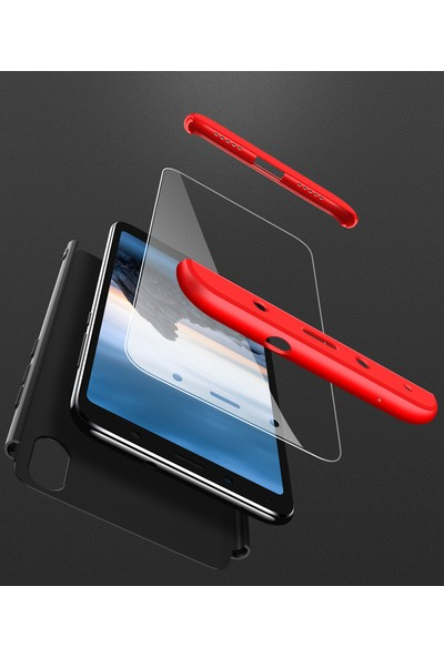 KNY Xiaomi Redmi 7A Kılıf 3 Parça 360 Ays Kapak + Cam Ekran Koruyucu Kırmızı