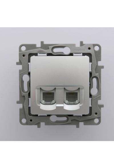Legrand Salbei Serisi Alüminyum Renk RJ11 Telefon + RJ45 Cat6 Utp Data Prizi Çerçevesiz