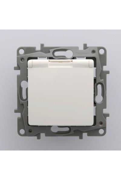 Legrand Salbei Serisi Beyaz Kapaklı Topraklı Priz 230V 16A Çerçevesiz