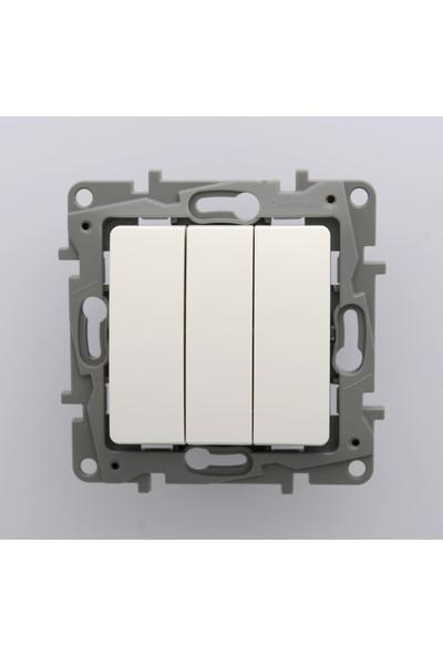 Legrand Salbei Serisi Beyaz Üçlü Anahtar 10A Çerçevesiz