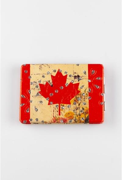 Dünyadan Hediyeler Taşlı Dikdörtgen Cep Makyaj Aynası Kanada Bayrağı