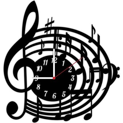 Tahtamoda Dekoratif Ahsap Duvar Saati Mat Siyah Muzik Nota Fiyati