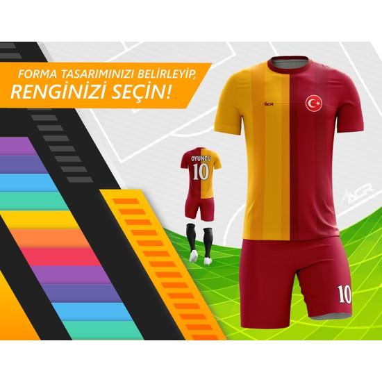 Acr Giyim - Sarı Kırmızı 19 - Kişiye Özel Futbol Forması Takımı