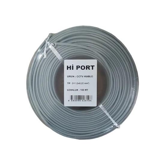 Hi Port 2+1 2x0.22 Folyolu Lüks 100M Cctv Kamera Kablosu