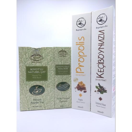 Alizade Boyot'lu Naturel Çay - Aslıbu Keçiboynuzu Ekstraktı - Aslıbu Propolis Ekstraktı