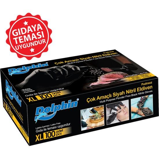 Kullan At Market Dolphin Çok Amaçlı Siyah Nitril Eldiven (Xl) 100LÜ (Gıdaya Uygun)