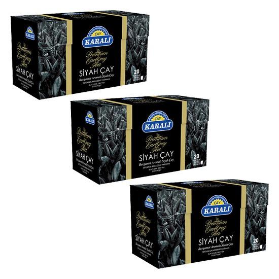 Karali Çay Karali Premium Bardak Poşet Earl Grey 20'li x 3 Adet