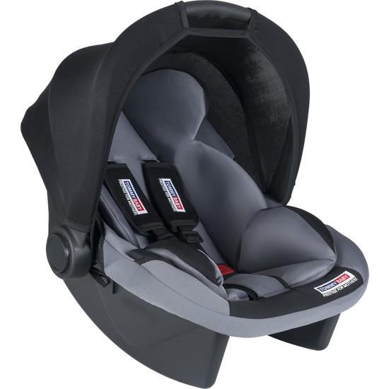 Tommybaby Lüx Pedli Bebek Taşıma, Bebek Oto Koltuğu Puset Gri - Siyah