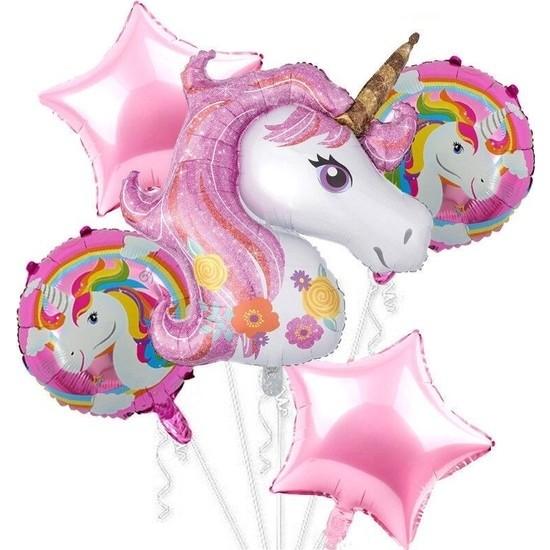 Buldum Unicorn Folyo Balon Seti Pembe 5 Li Set