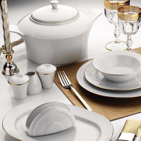 Kütahya Porselen Zümrüt 84 Parça Altın Fileli Yemek Takımı