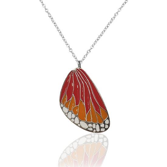 Dalman Silver Kırmızı Sarı Tonlu Mineli Kelebek Kanat Dokulu Modern Kolye
