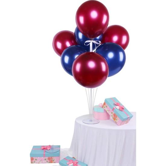 Kidspartim 7 'li Balon Stand Demeti Bordo ve Laciver Balon