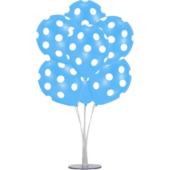 Kidspartim 7 'li Balon Stand Demeti Mavi Puantiyeli